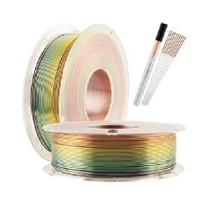Silk Shiny Fast Color Gradient Change Rainbow Multicolored 3D Printer PLA Filament - 1.75mm 3D Printing Material 1kg 2.2lbs Spool, Widely Compatible for FDM 3D Printer with One Bottle Gift by TTYT3D